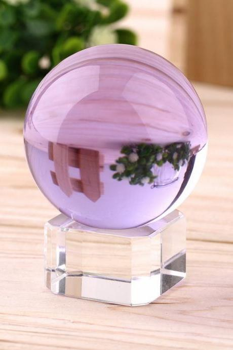 40mm Natural purple Crystal Sphere Magic Crystal Healing Ball Sphere + Stand LH-28