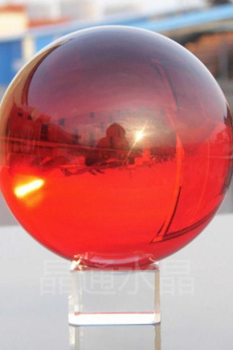 40mm Natural red Crystal Sphere Magic Crystal Healing Ball Sphere + Stand LH-32