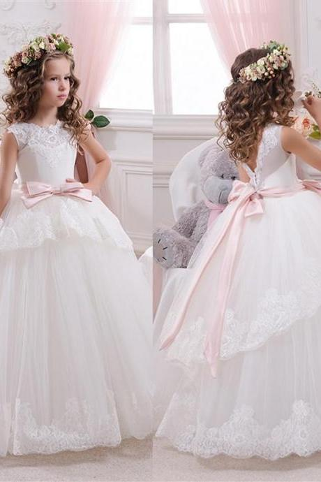 Princess Ball Gown White Lace Flower Girls Dresses For Weddings 2016 Tulle Belt Bow Knot Custom First Communion Dress Gown W123