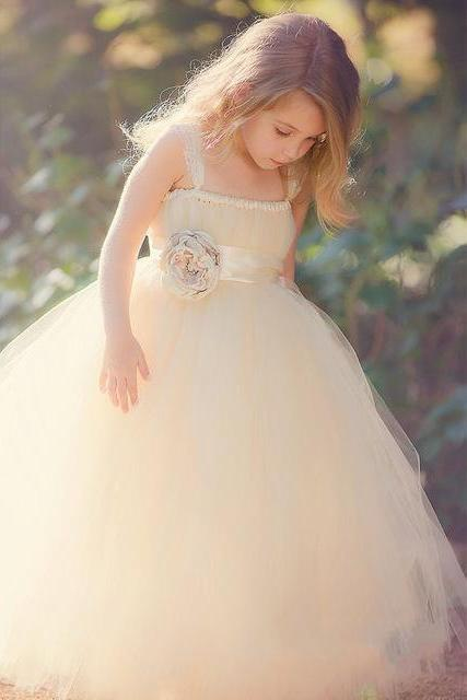 New Straps Sweetheart Strapless Flower Tulle Flower Girl Dresses Ball Gown Size W124