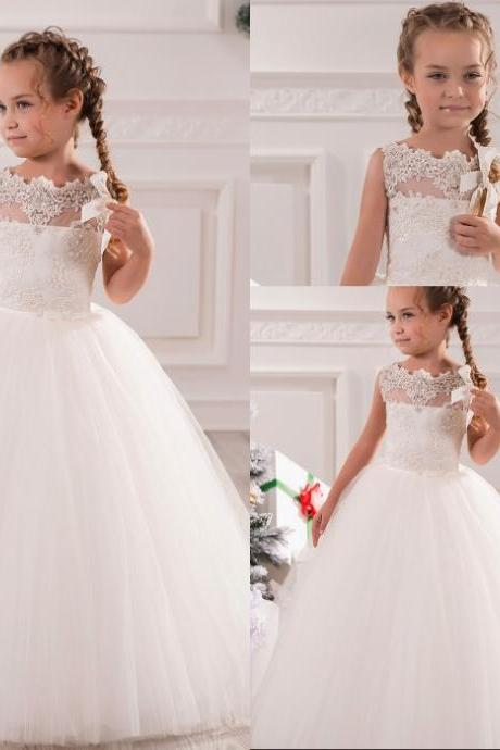 White Ivory First Communion Dresses Cute Little Girls pageant Dresses Tulle Ball Gown Floor Length Flower Girls Dresses W128