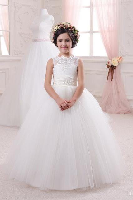 Tulle Sleeveless A line Scoop Lace Applique Bow Floor Length Flower Girl Dresses First Communion Dresses Vestidos de Comunion W130