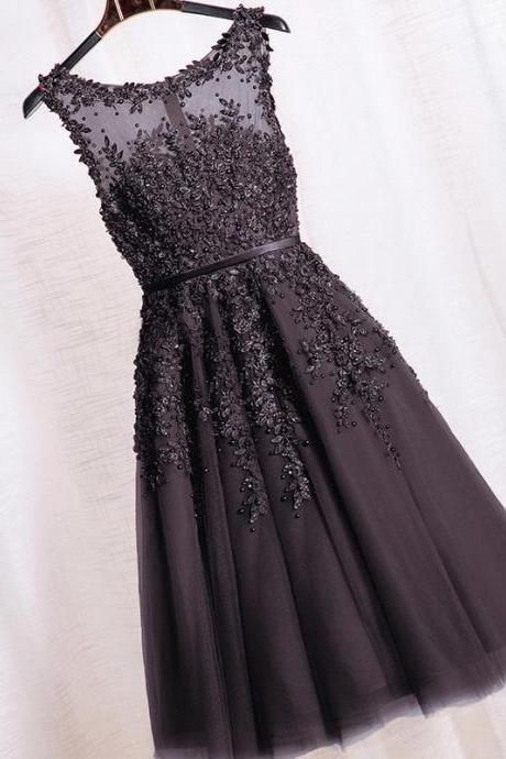 Black Beaded Lace Appliques Short Prom Dresses Robe De Soiree Knee Length Party Evening Dress