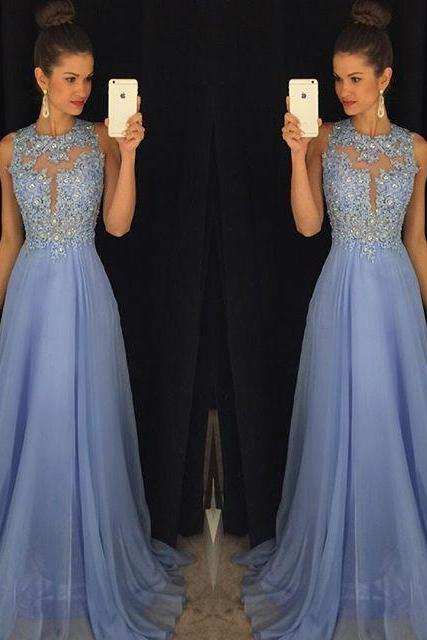Prom Dress O Neck Sleeveless A Line with Appliques Beaded Chiffon Customize Party Dresses