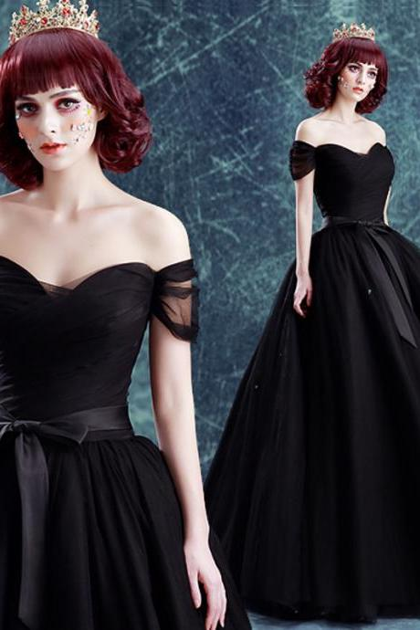 elegant black organza boat neck off shoulder lace up prom dress with bow belt ball gown
