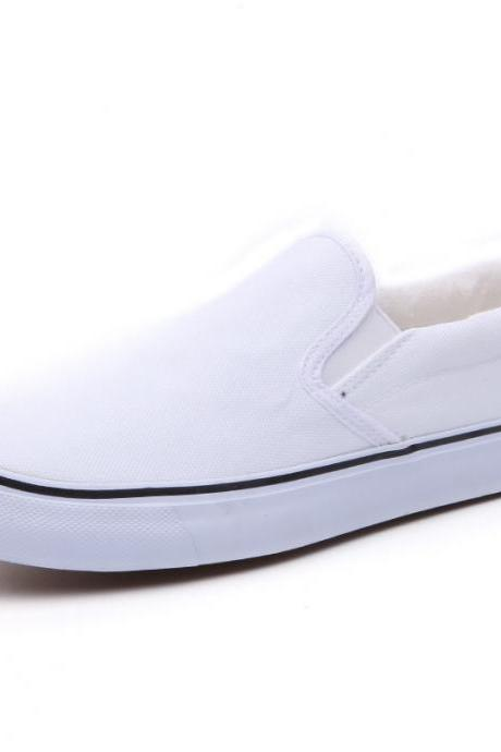 Free Shipping Simple Casual Round-Toe Canvas Flat Slip-On Sneakers