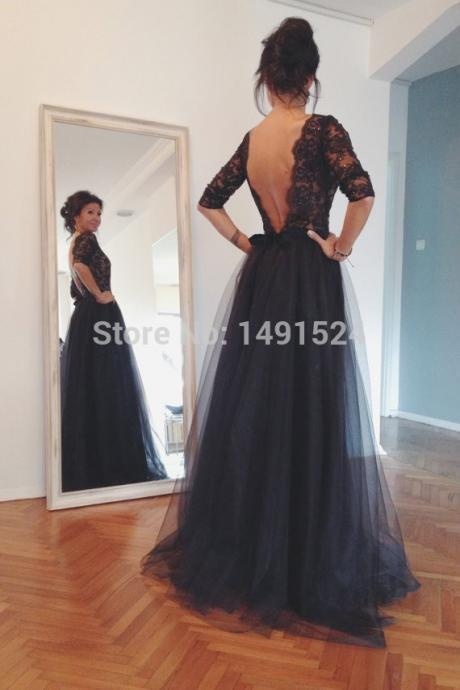 Sexy Boat Neck Black Tulle Evening Dresses New Backless Prom Party Gown vestido de festa long PP3