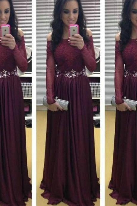 Off the Shoulder Maroon Prom Dresses 2017 New Long Sleeve Evening Dress vestidos de festa vestido PP15
