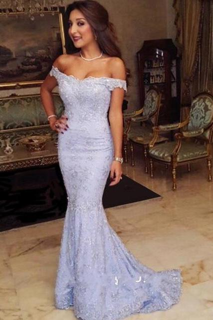 Lavender Mermaid Lace Prom Dresses 2017 New Sexy Off the Shoulder Evening Gowns Vestidos De Formatura PP26