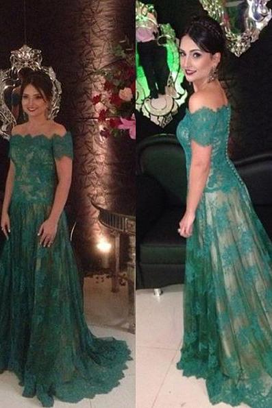 Emerald Green Off The Shoulder Lace Prom Dress 2017 New With Short Sleeve Vestido De Madrinha PP28