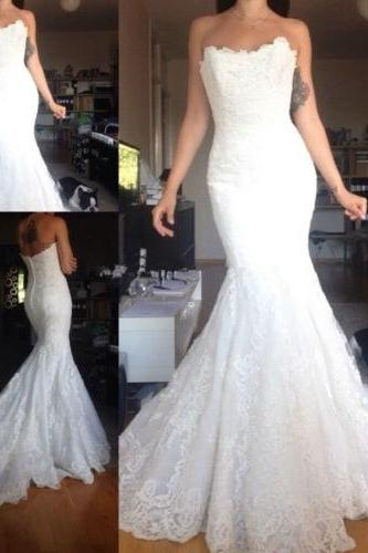 Sexy Mermaid Strapless Wedding Dresses 2017 Vintage Lace Applique Formal Long Elegant Bridal Gown PP37