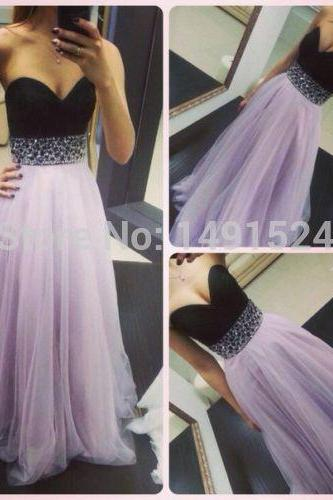 2015 New Black Lilac Evening Dresses Long A Line Bead Tulle Formal Prom dresses Sweetheart Party Gown Custom Size PP40
