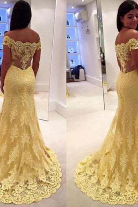 Yellow Lace Evening Dresses 2015 A Line Long Prom Gowns Sweep Train 2016 Party Gowns PP42