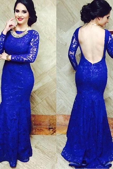 Royal Blue Lace Mermaid Backless Prom Dresses 2017 With Long Sleeve Open Back Long Formal Gown Vestidos De Festa PP45