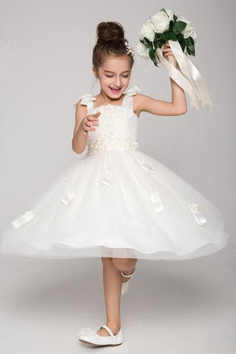 Flower Girls Dresses Ball Gown Floor Length Girls First Communion Dress Party Dress A2