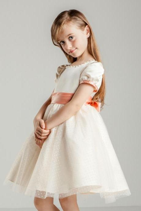 Flower Girls Dresses Beaded Kids Girls First Communion Dress Party Dress A13