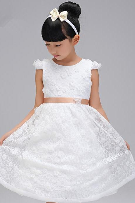 Flower Girls Dresses lace Applique Princess Girls First Communion Dress Party Dress A20