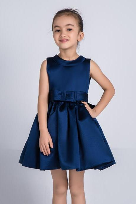 Flower Girls Dresses Navy Blue Kids Girls First Communion Dress Party Dress A26