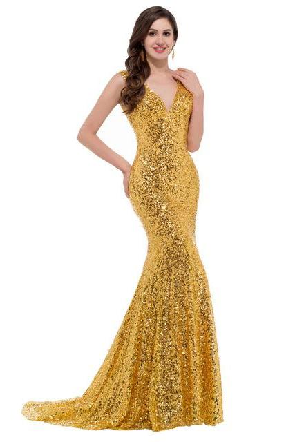 Fashion Dresses Sexy V Neck Sequins Evening Party Dress Sexy Prom Dress Bridesmaid Dress Wedding Dress BR57