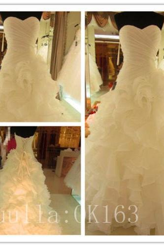 Women Fashion White/Ivory Strapless Organza Wedding Dress Bridal Gown Sexy Mermaid Dress Long Train Prom Dress KK36
