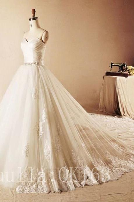 Women Fashion White/Ivory Lace Wedding Dress Full Length Bridal Gown Long Train Prom Dress KK39