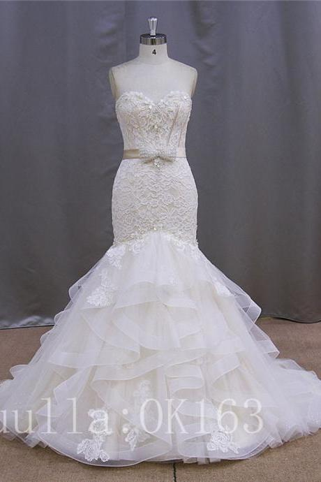 Women Fashion White/Ivory Strapless Organza lace Wedding Dress Bridal Gown Sexy Ball Gown Dress Long Train Prom Dress KK40