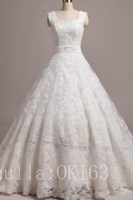 Women Fashion White/Ivory Lace A Line Wedding Dress Full Length Bridal Gown Prom Dress KK49