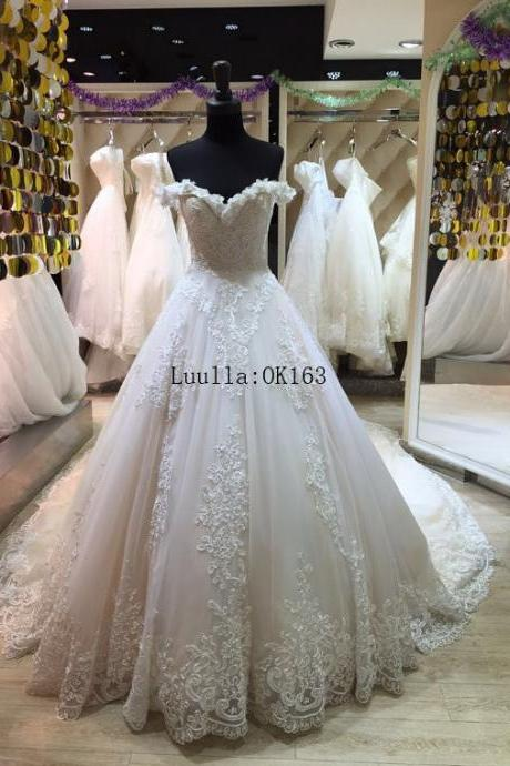 Women Fashion White/Ivory Lace Strapless Wedding Dress Full Length Bridal Gown Prom Dress KK76