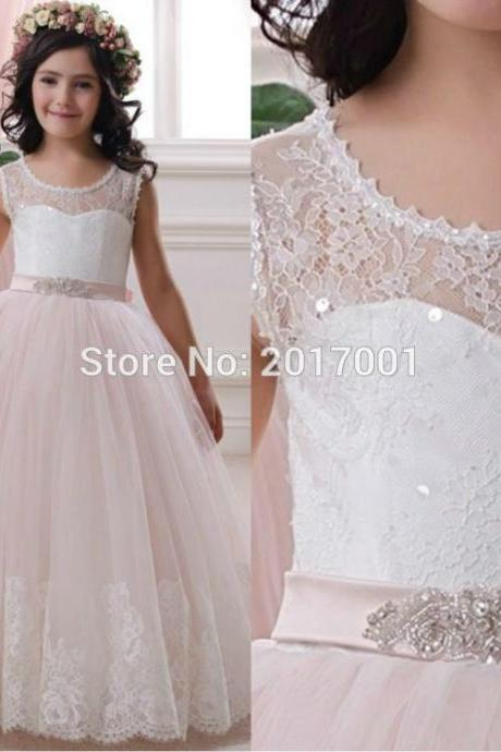 Lace Flower Girl Dresses by Tulle Ball Gown Scoop first communion dresses for girls wedding Occsion prom dress children
