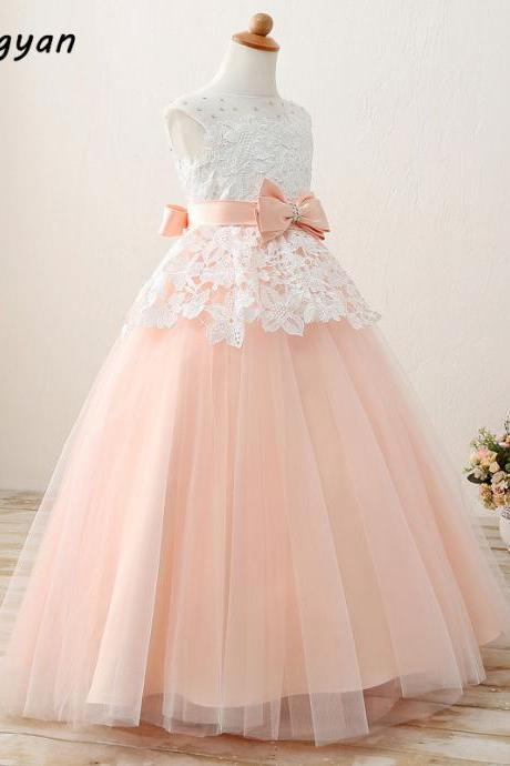 2017 Flower Girl Dresses Real Photo Appliques Beading With Sashes Bow For Kid's Party Ball Gowns First Communion Custom Made Kids7