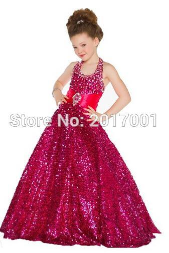 Flower Girl Dress Red Halter Off Shoulder Sleeveless Sash Floor Length Tulle Ball Gown Kids Princess Wedding Party Kids8