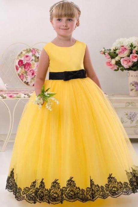 Yellow Lace Flower Girl Dress Beautiful Vintage Kids Dress for Wedding First Communion Dresses Appliques Toddler Girl Dress Kids9