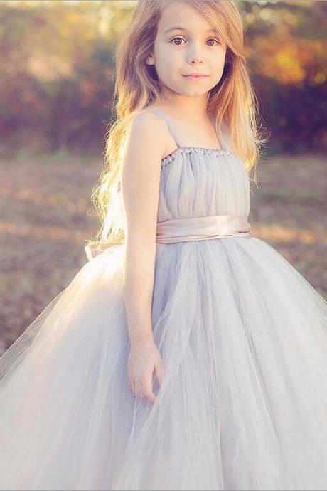 New Flower Girl Dresses with Sashes High Neck Party Pageant Communion Dress Little Girls Kids/Children Dress for Wedding kids19