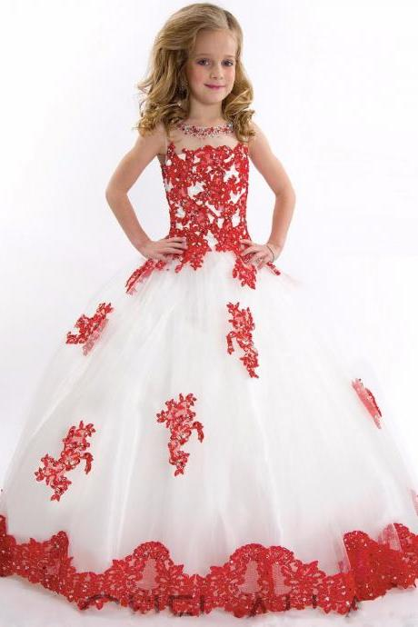 Ball Gown Flower Girls Dresses Scoop Sleeveless Floor Length Lace Appliqued Kids Pageant Dresses Childs First Communion Kids71
