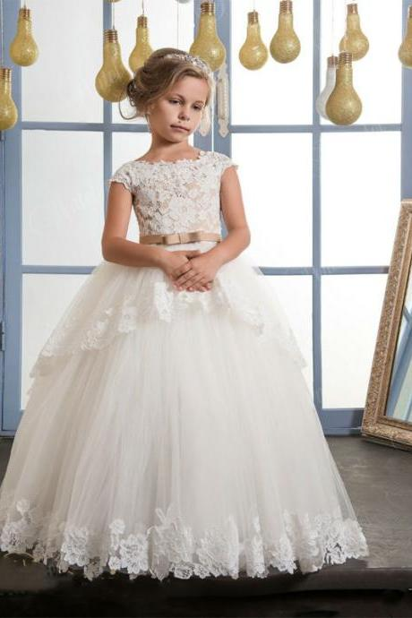 New Fashion High Quality Lace Appliques Flower Girl Dresses With belt baby girl ball gown holy communion dresses vestido daminha Kids72