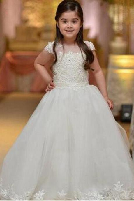 Fashion Ivory Flower Girl Dresses first communion dresses for girls Lovely flower girl dress kids evening gowns ball gowns girls Kids84