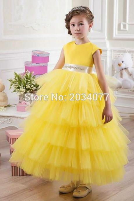 High Quality Flower Girl Dresses Yellow Evening Gowns For Kids Robe fille Rhinestones Belt Tiered Communion Dress 2017 Kids86