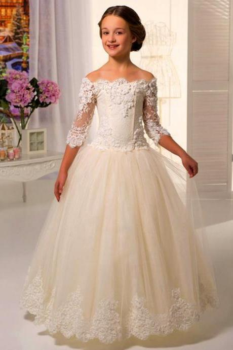 Scoop Lace Appliques Full Length Tulle Flower Girl Dresses For Weddings First Communion Dress Gowns Kids92