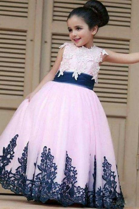 Bright Yellow Flower Girl Dresses 2017 Cute Ball Gown Lace Applique Girls Pageant Dresses Elegant Party Dresses Kids94