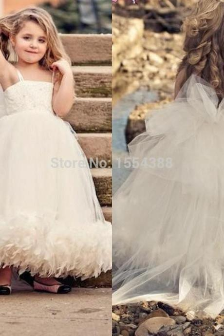Floor Length Tulle Girl's Pageant Dresses Spaghetti Strap Ball Gown Ivory Flower Girl Dresses For Weddings Kids96