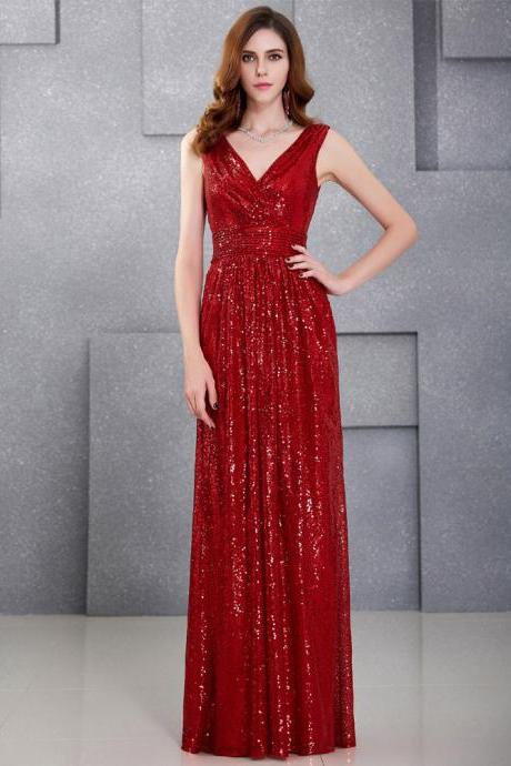 Luxury Red Long Sequin Evening Dress Pink Double V Neck Cheap Evening Gowns Sleeveless Prom Party Formal Dresses JA1