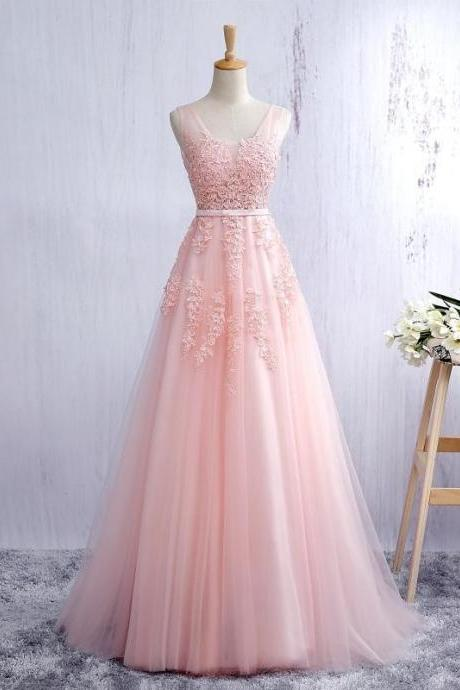 Pink V Neck Tulle Prom Dress, Open Back A Line Formal Gown With Lace Appliques JA28