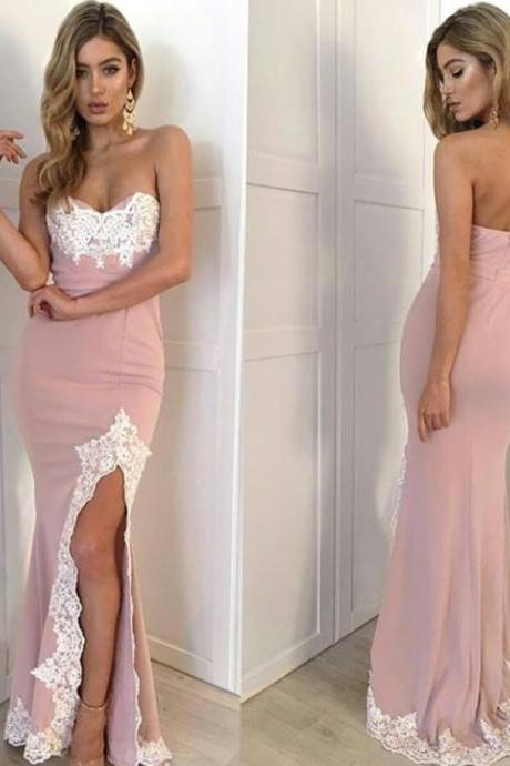 Pink Fitted Prom Dress 2017, Sweetheart Slit Formal Gown Embellished With Lace Appliques JA30