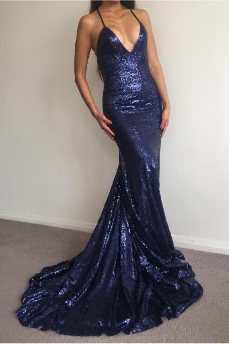 Charming Prom Dress,Navy Blue Prom Dress,Sexy Sequin Prom Dress,Long Party Dress,Mermaid Prom Dress,Sequined Prom Dress, V Neck Prom Dress JA38
