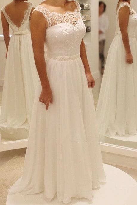 Simple A Line Backless Beach Wedding Dress Ball Gowns, 2017 Wedding Dress,Backless Wedding Dress, New Style Wedding Dress,Beach Chiffon Wedding Dress, Light Ivory Wedding Dress JA39