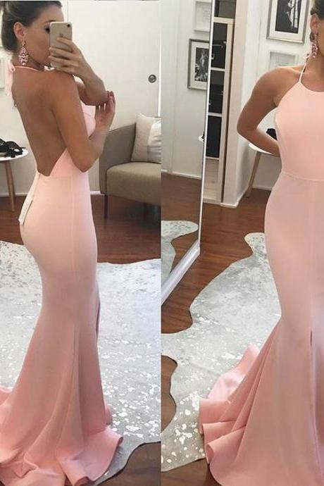 Gorgeous Pink Backless Formal Gown, Halter Mermaid Prom Dress,Long Dress With Slit Evening Dress JA51