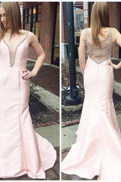 Beaded Pink Plunging V Neck Prom Dress,Taffeta Mermaid Formal Gown With Sheer Back JA60