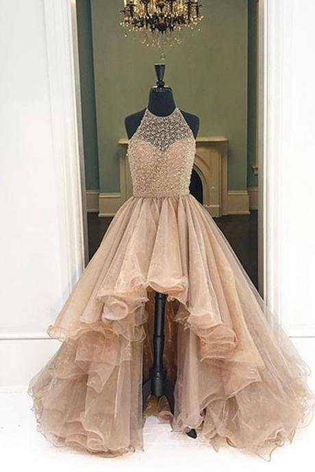Champagne organza halter high low A-line long Formal Evening Dresses Long Prom Party Gowns prom dresses JA152
