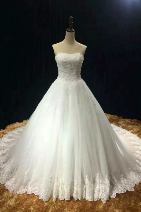Chapel train soft tulle lace appliques strapless wedding dress real photo vestido noiva prince with pearls free custom-made JA198
