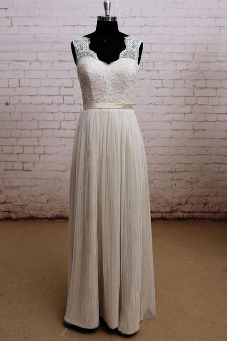 Champagne A-line Floor-length Wedding Dress with Sheer Pleated Overlay and Lace Bodice JA233
